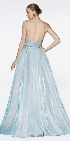 Cinderella Divine CE0018 Floor Length Strapless Glitter Gown Metallic Blue Pointed Sweetheart Neckline Leg Slit