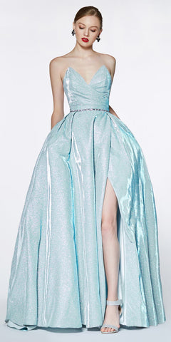 A-Line Ball Gown Long Teal V Neckline Side Insets Open Back