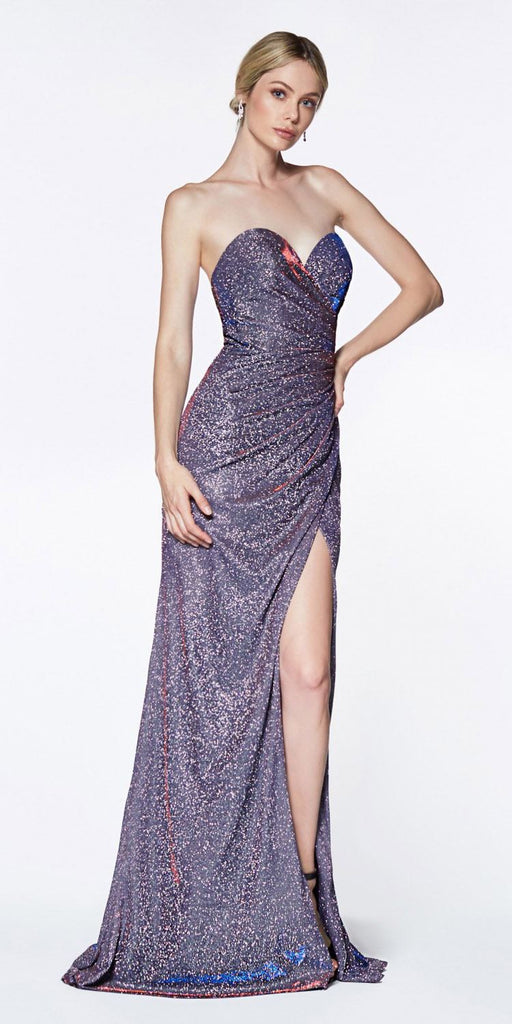 Cinderella Divine CE0019 Long Strapless Glitter Gown Purple With Sweetheart Neckline Leg Slit
