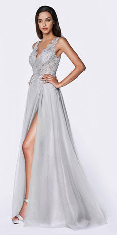 Floor Length Spaghetti Strap Lavender Prom Dress V Neck