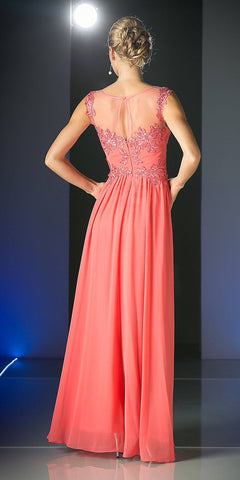 Cinderella Divine CF005 Illusion Bateau Neck Evening Dress Coral Cap Sleeve Chiffon Back View
