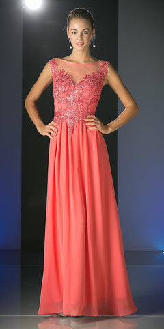 Cinderella Divine CF005 Illusion Bateau Neck Evening Dress Coral Cap Sleeve Chiffon