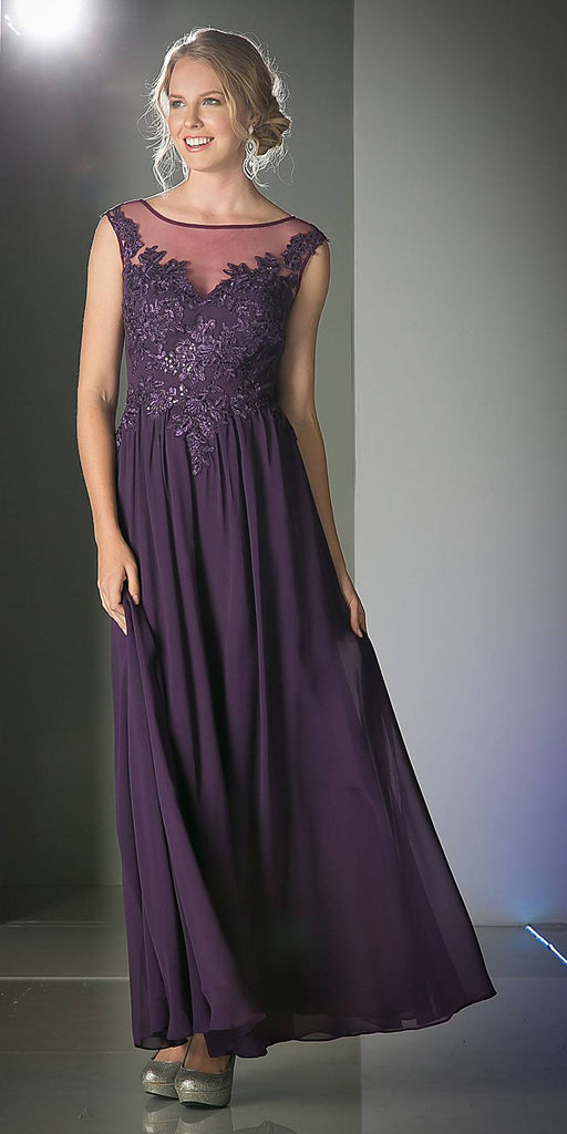 Cinderella Divine CF005 Illusion Bateau Neck Evening Dress Eggplant Cap Sleeve Chiffon