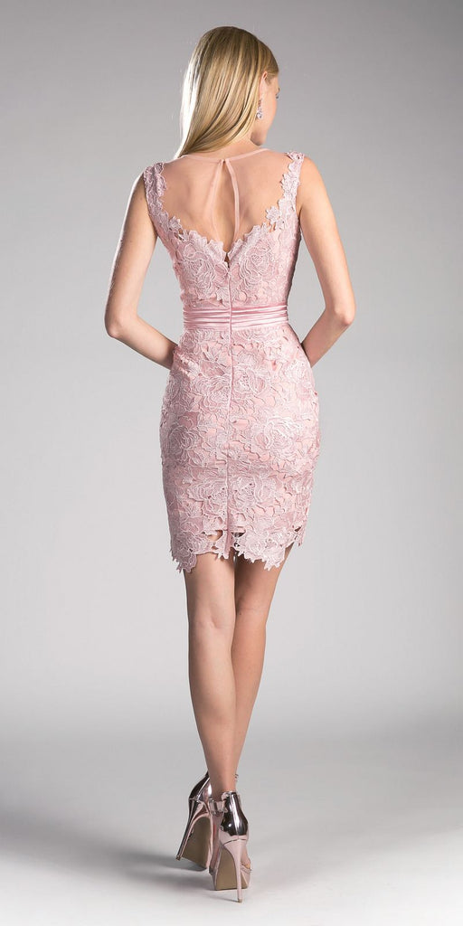 Cinderella Divine CF053 Sleeveless Lace Overlay Blush Cocktail Dress Short Back View