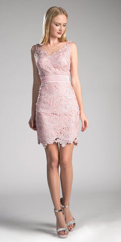 Cinderella Divine CF053 Sleeveless Lace Overlay Blush Cocktail Dress Short
