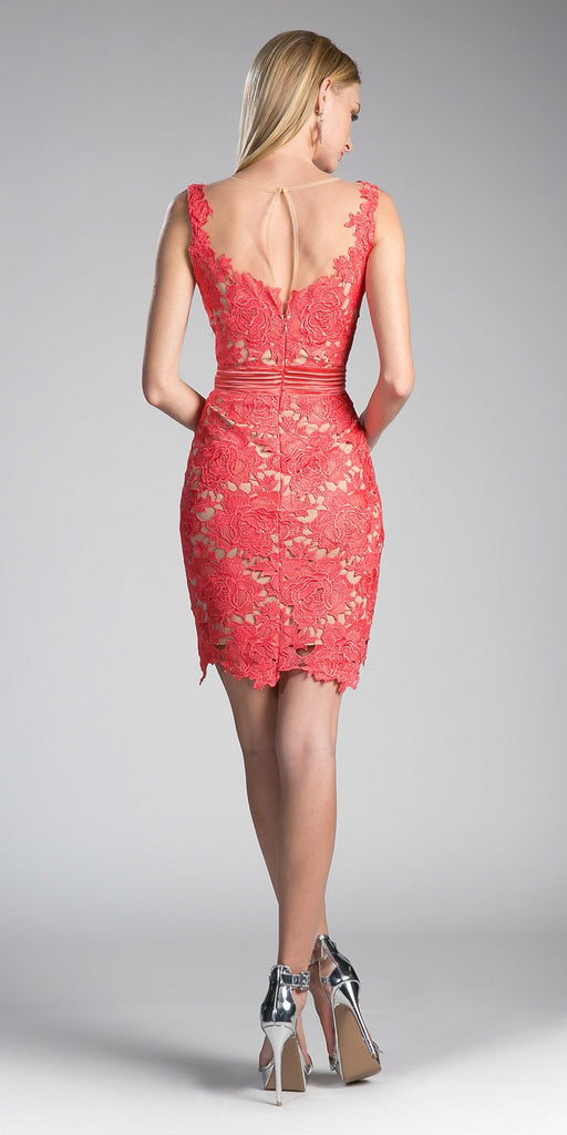 Cinderella Divine CF053 Sleeveless Lace Overlay Orange Cocktail Dress Short Back View
