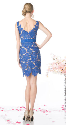 Cinderella Divine CF053 Sleeveless Lace Overlay Royal Blue Cocktail Dress Short Back View