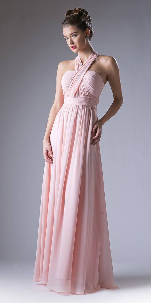 Cinderella Divine CF055 Convertible Long Evening Dress Blush A Line Multiple Styles - DiscountDressShop