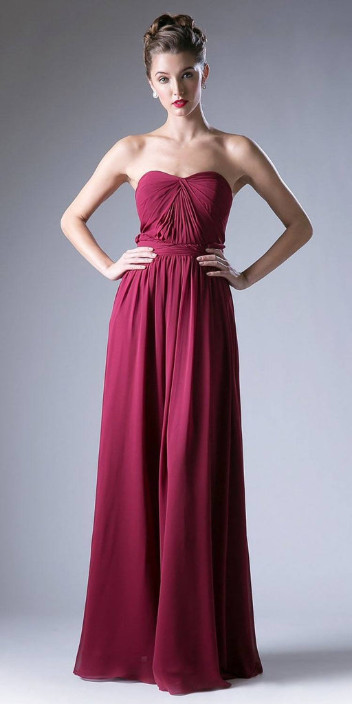 Cinderella Divine CF055 Convertible Long Evening Dress Burgundy A Line Multiple Styles - DiscountDressShop