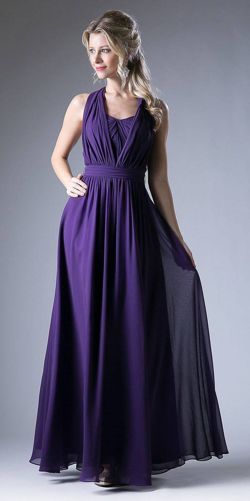 Cinderella Divine CF055 Convertible Long Evening Dress Eggplant A Line Multiple Styles - DiscountDressShop