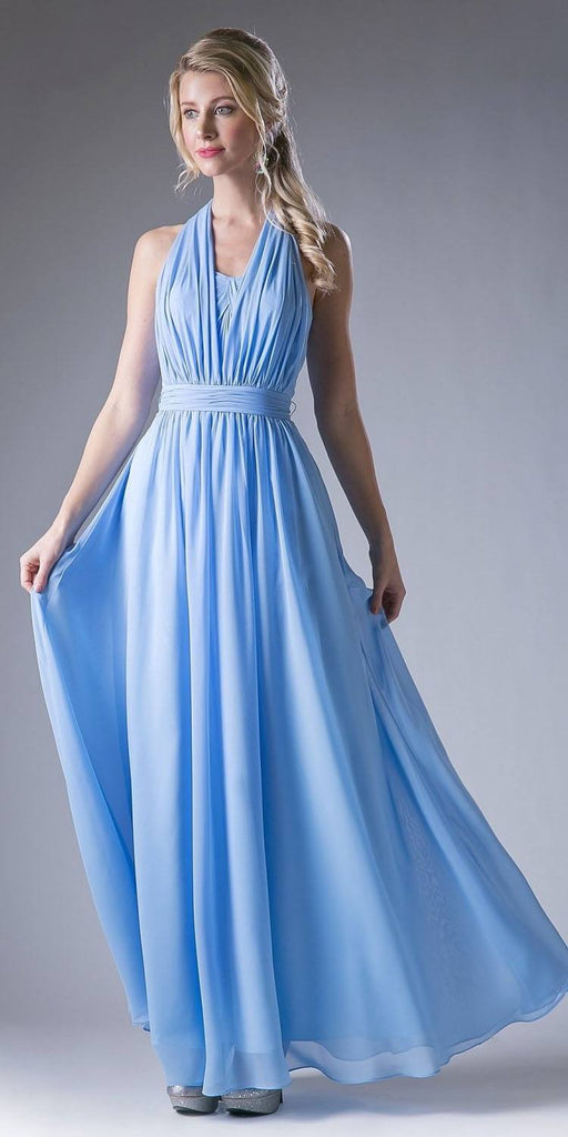 Cinderella Divine CF055 Convertible Long Evening Dress Sky Blue A Line Multiple Styles - DiscountDressShop