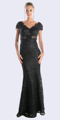 Cinderella Divine CF065 Black Lace Applique Cap Sleeves Sheath Formal Dress