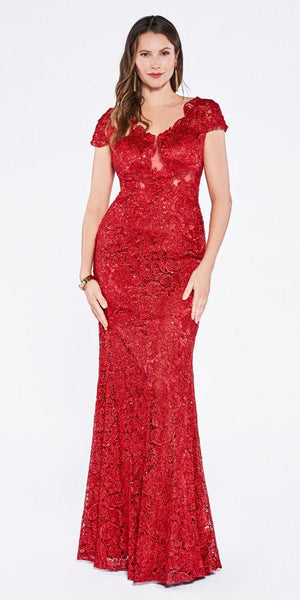 Cinderella Divine CF065 Red Lace Applique Cap Sleeves Sheath Formal Dress