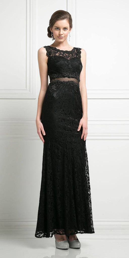 Cinderella Divine CF067L Sleeveless Mock Two-Piece Evening Lace Dress Black