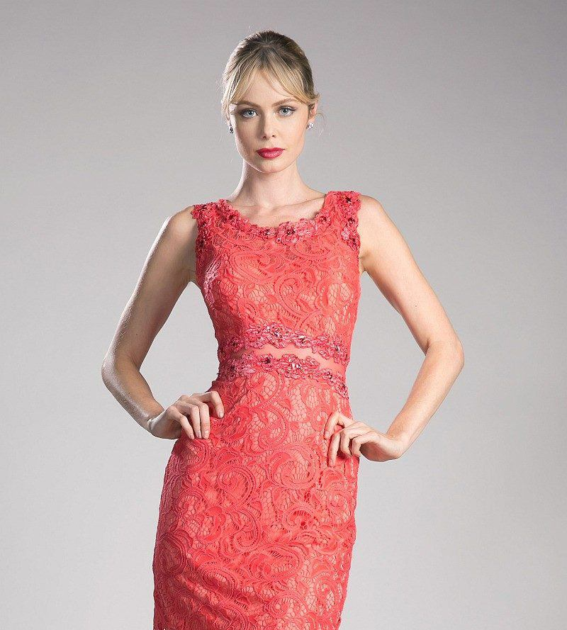 Cinderella Divine CF067L Sleeveless Mock Two-Piece Evening Lace Dress Coral