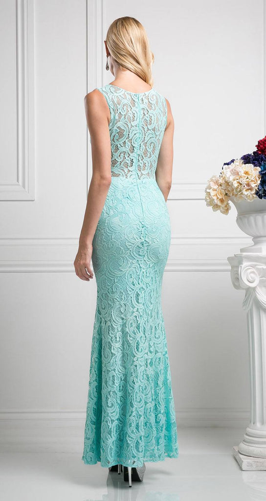 Cinderella Divine CF067L Sleeveless Mock Two-Piece Evening Lace Dress Mint Back View