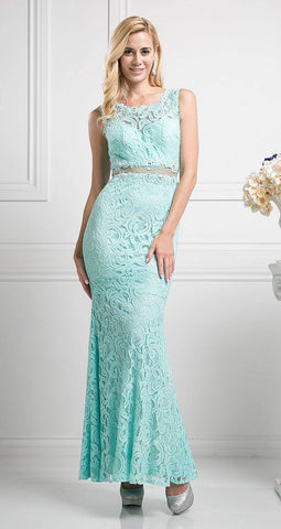 Cinderella Divine CF067L Sleeveless Mock Two-Piece Evening Lace Dress Mint