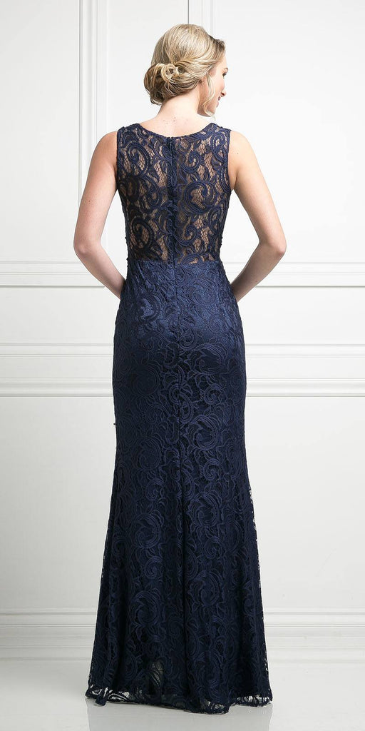 Cinderella Divine CF067L Sleeveless Mock Two-Piece Evening Lace Dress Navy Blue Back View
