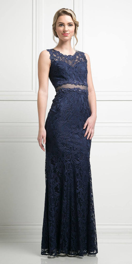 Cinderella Divine CF067L Sleeveless Mock Two-Piece Evening Lace Dress Navy Blue