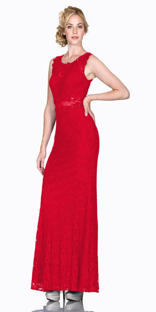 Cinderella Divine CF067L Sleeveless Mock Two-Piece Evening Lace Dress Red
