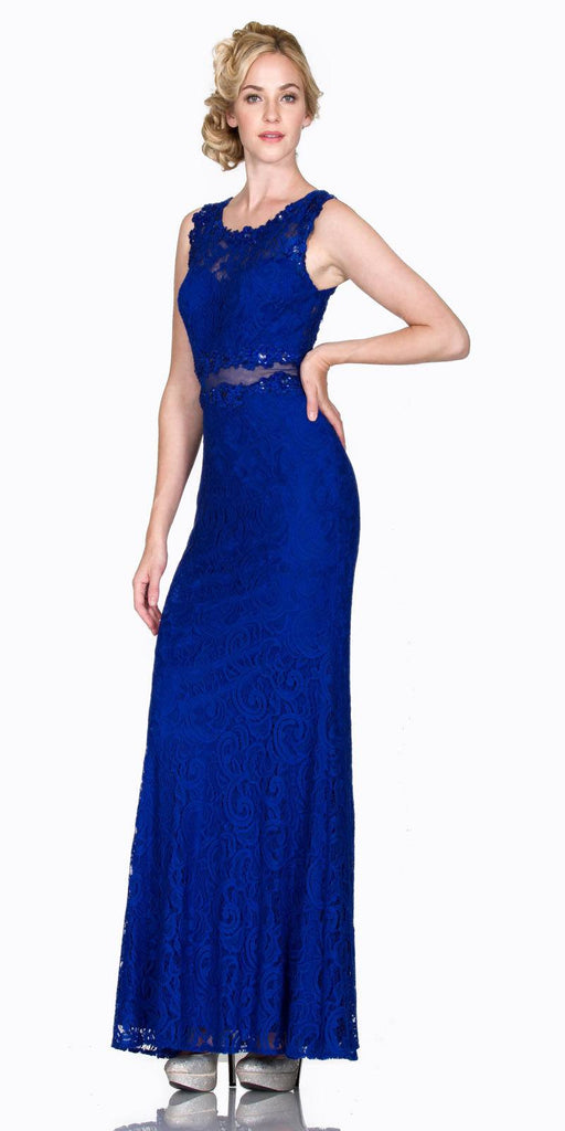 Cinderella Divine CF067L Sleeveless Mock Two-Piece Evening Lace Dress Royal Blue