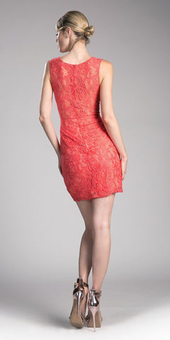Cinderella Divine CF067s Short Sleeveless Mock Two-Piece Lace Dress Coral Back View