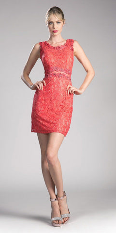 Cinderella Divine CF067s Short Sleeveless Mock Two-Piece Lace Dress Coral