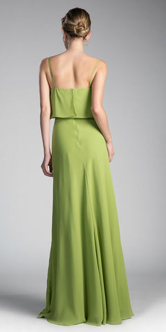 Cinderella Divine CF074 Double Layer Bodice Bridesmaid Dress Green Spagheeti Straps Back View