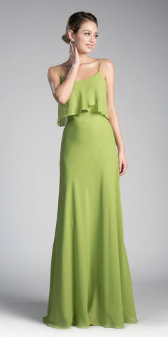 Cinderella Divine CF074 Double Layer Bodice Bridesmaid Dress Green Spagheeti Straps