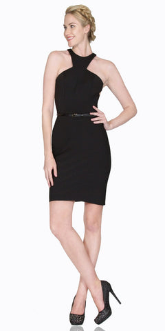 Black Short Cocktail Sheath Dress Grecian Neckline with Belt