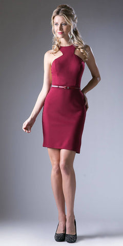 Burgundy Short Cocktail Sheath Dress Grecian Neckline with Belt