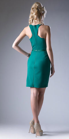 Green Short Cocktail Sheath Dress Grecian Neckline with Belt
