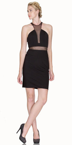 Sheer Cut Out Bodice Short Cocktail Dress Black Racer Back