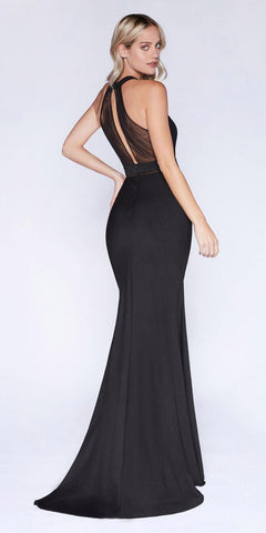 Illusion Long Prom Evening Dress Black Panel Front Halter