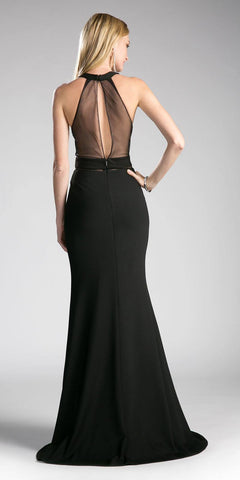 Cinderella Divine CF088 Illusion Long Prom Evening Dress Black Panel Front Halter Back View