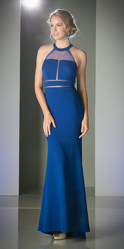 Cinderella Divine CF088 Illusion Long Prom Evening Dress Royal Blue Panel Front Halter