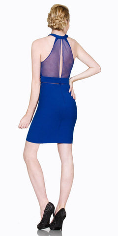 Halter High Neck Short Cocktail Sheath Dress Sheer Back Royal Blue