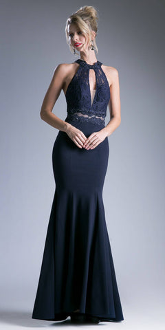 Sexy Illusion Waist Floor Length Formal Mermaid Halter Dress Navy
