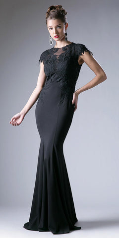 Cap Sleeves Floor Length Mermaid Formal Dress Appliqued Bodice Black