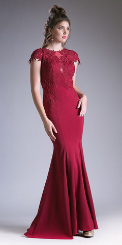 Cap Sleeves Floor Length Mermaid Formal Dress Appliqued Bodice Burgundy