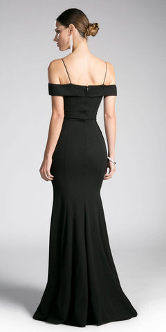 Black Evening Gown Off-the-Shoulder with Strap
