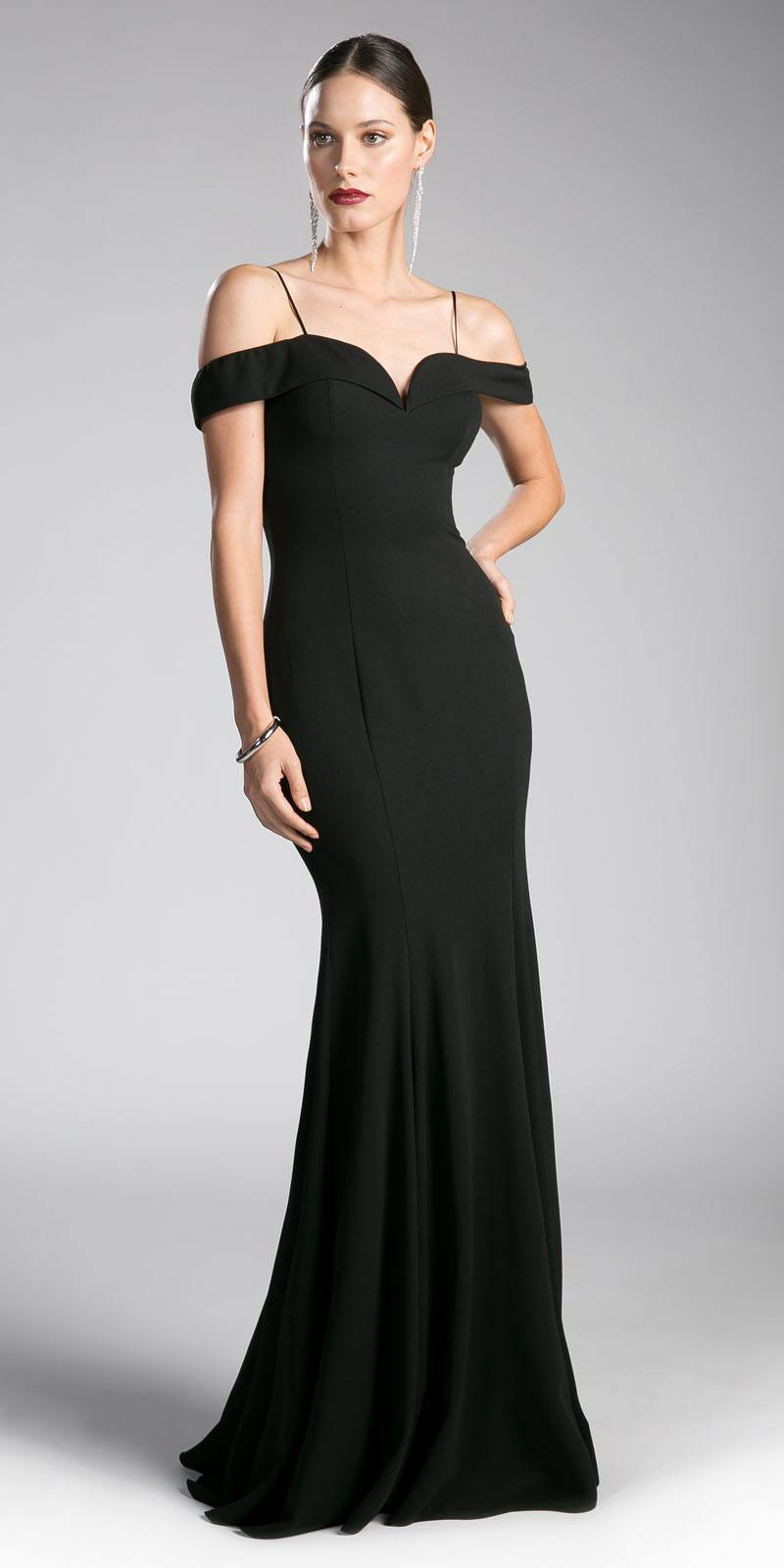 Cinderella Divine CF114 Black Evening Gown Off-the-Shoulder with ...