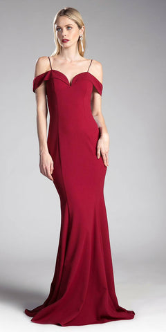 Burgundy Evening Gown Off-the-Shoulder with Strap