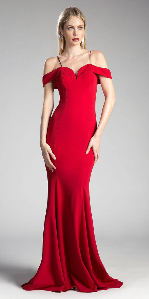 Red Evening Gown Off-the-Shoulder with Strap