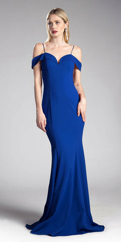 Royal Blue Evening Gown Off-the-Shoulder with Strap