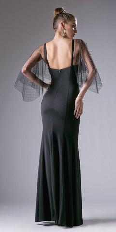 Cinderella Divine CF116 Black Mermaid Prom Gown with Sheer Flutter Long Sleeves Back View