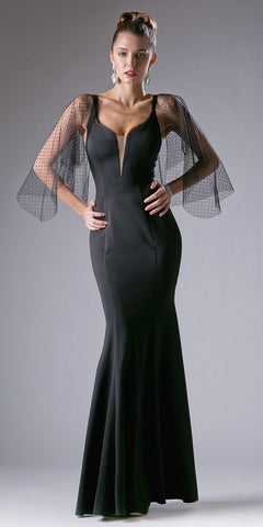 Cinderella Divine CF116 Black Mermaid Prom Gown with Sheer Flutter Long Sleeves