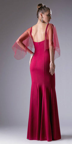 Cinderella Divine CF116 Burgundy Mermaid Prom Gown with Sheer Flutter Long Sleeves Back View
