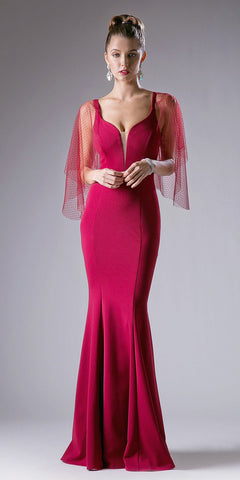 Burgundy Mermaid Prom Gown with Sheer Flutter Long Sleeves