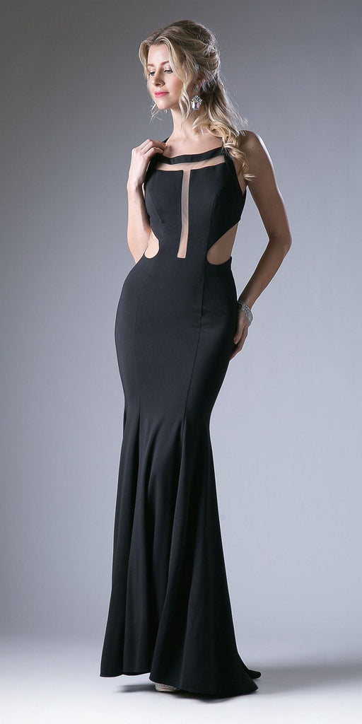 Black Sheer Cut-Out Bodice Open Back Long Prom Dress